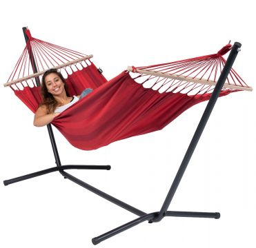 Easy & Relax Red Hamac Sur Pied Une Place