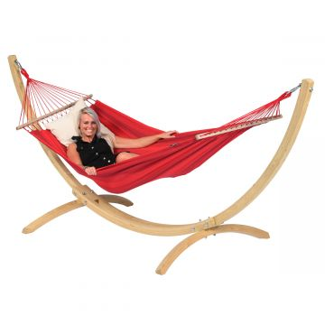 Wood & Relax Red Hamac Sur Pied Une Place