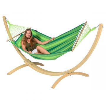 Wood & Relax Green Hamac Sur Pied Une Place